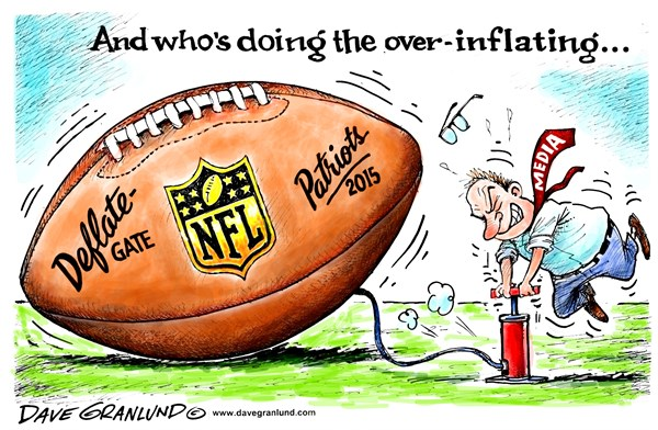 Deflate gate © Dave Granlund,Politicalcartoons.com,deflated, footballs, nfl, patriots, colts, brady, under, inflated, over, air, psi, belichick, coach, rules, probe, investigation, investigate, new england