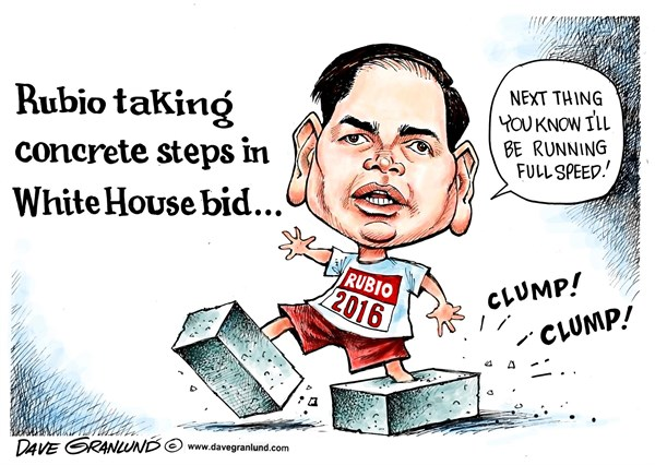 Marco Rubio 2016 bid © Dave Granlund,Politicalcartoons.com,Marco, rubio, gop, republican, race, candidate, presidential, oval office, cuba, cuban, conservative, steps,