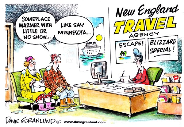 Blizzard escape © Dave Granlund,Politicalcartoons.com,New England, blizzard, snow, cold, minnesota, deep, drifts, record, depth, snowy, massachusetts, ct, me, ri, vt, nh, boston, providence