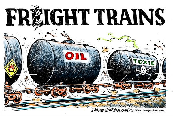 Freight fright © Dave Granlund,Politicalcartoons.com,oil trains, oil transport, leaks, explosions, threat, damage, deaths, property, environment, pollution, pollute, toxic, toxins, petroleum, crude, crude oil, gas, propane, ammonia, gasoline, heating oil, fires, danger, hazardous