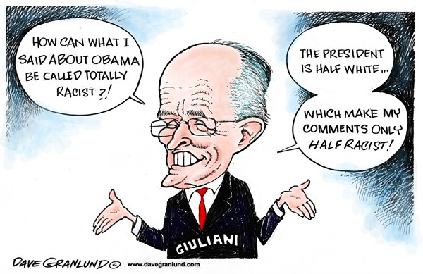 Giuliani remarks on Obama © Dave Granlund,Politicalcartoons.com,president, love America,racist, racism, white mother, rudy, nyc mayor, gop, republican, insult, white house, horrible, nasty, comments, stupid,