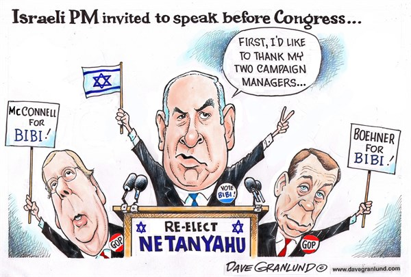 Netanyahu Congress speech © Dave Granlund,Politicalcartoons.com,Israel,Israeli,invite,invited,protocol,ira,campaign Israel election,voters,votes,congress,senate,senators,OConnell,Boehner,friction,gop,republicans,pm,prime minister,Obama,president,lobby