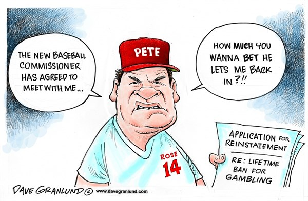 Pete Rose applies for return © Dave Granlund,Politicalcartoons.com,MLB, pete rose, baseball, scandal, betting, gamble, gambling, lifetime, ban, banned, player, application, commissioner,