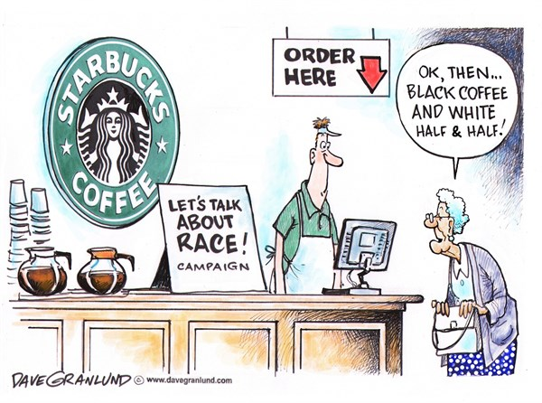 Starbucks and race talk © Dave Granlund,Politicalcartoons.com,race, black, white, coffee, chat, discussions, race together, stores, shops,