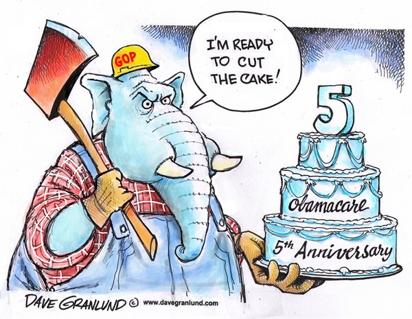 Obamacare 5th year © Dave Granlund,Politicalcartoons.com,obamacare, affordable Care Act, medical, coverage, fifth, anniversary, cake, cut, gop, cut, kill, end, republicans, conservatives