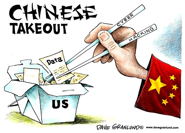 China hacking US data © Dave Granlund,Politicalcartoons.com,US, China, data, social security, info, personnel records, breach, hack, spying