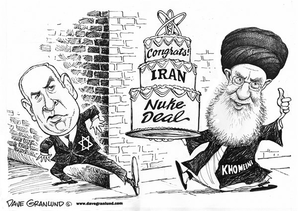 Iran Nuke Deal agreement © Dave Granlund,Politicalcartoons.com,world powers, iran, nuclear, deal iran nuke deal, us, Russia, Mideast, middle east, nuclear weapons, inspections, new chapter, Israel, Netanyahu, bibi, cake, congrats, congratulations, celebration,