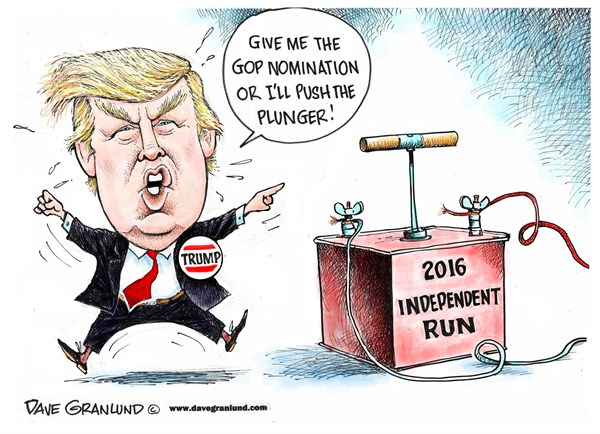 Trump and 2016 independent run © Dave Granlund,Politicalcartoons.com,independent, run, threat, gop, candidate, spoiler, republican, primaries, voters, nomination, convention, Donald, Donald trump, rich, threats, polls, 3rd party