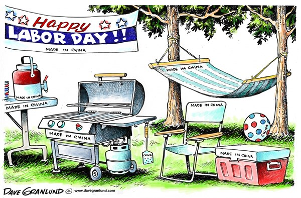 Labor Day backyard © Dave Granlund,Politicalcartoons.com,labor day, holiday, weekend, bbq, barbecue, hammock, rest, cookout, grilling, hamburgers, hot dogs, family, summer end, workers, china, made in china, cheap labor, outsourced, overseas, hourly wage, lost jobs, American workers, factories