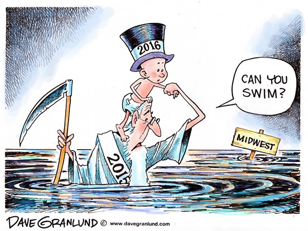 Dave Granlund - Politicalcartoons.com - New Year Midwest flooding - English - New year, Mississippi, river, MO, IL, Illinois, cities, record, homes, emergency, evacuation, response, crest, flood stage,towns
