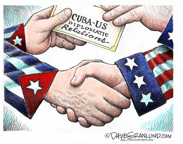 CubaUS diplomatic ties, Dave Granlund,Politicalcartoons.com,Cuba, US, diplomacy, thaw, handshake, Obama, castro, relations