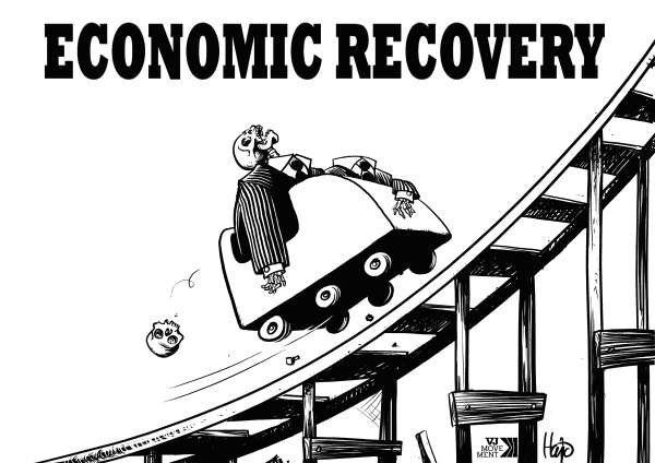 Hajo de Reijger - The Netherlands - economic recovery bl/w - English - economic recovery, economy, recovery, rollercoaster, skeletons, recession, upwards, black and white