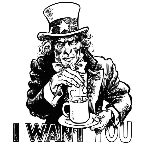 Hajo de Reijger - The Netherlands - i want you - English - i want you, tea party, uncle sam, usa, recruitment, poster, army, tea, tea cup