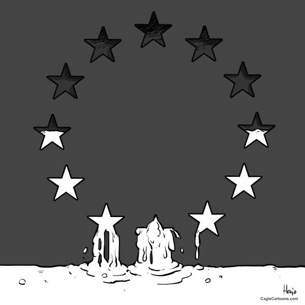 Hajo de Reijger - The Netherlands - EU oozes out - English - EU, flag, stars, leaking, ooze, Europe, debt crisis, southern Europe, Greece, Spain, monetary union, bailout