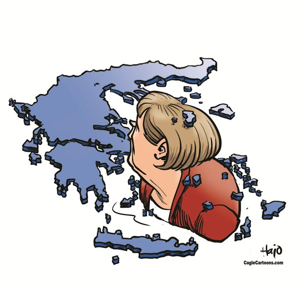 Hajo de Reijger - The Netherlands - Merkel in Aegean Sea - English - Merkel, Angela Merkel, Germany, Greece, Aegean sea, Athens, Euro, Europe, membership, Eurozone, tranche, aid, bailout, financial crisis
