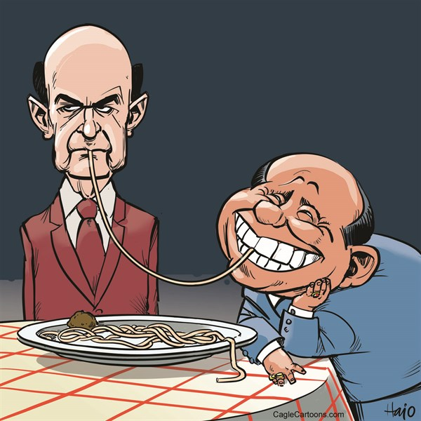 Hajo de Reijger - The Netherlands - spaghetti Bersani - English - Bersani, Pier Luigi Bersani, Democratic Party, Berlusconi, Silvio, The People of Freedom Party, spaghetti, elections, coalition, Lady and the tramp, Disney