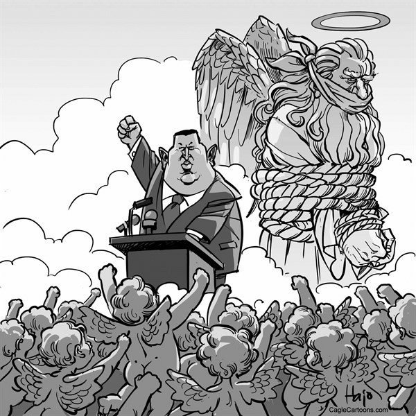 Hajo de Reijger - The Netherlands - Chavez - English - Chavez, Hugo Chavez, Venezuela, president, dead, heaven, god, coup, speech, cherubs