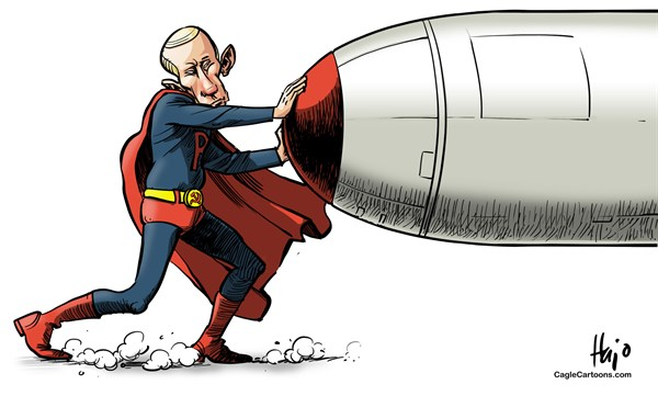 Putinman 2 © Hajo de Reijger,The Netherlands,Putin,Russia,superman,Syria,strike,missile,US save,Obama,attack