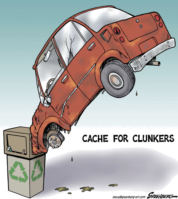 Cache for Clunkers © Steve Greenberg,Freelance, Los Angeles,Cash for Clunkers,cars,autos,recycling,cache,gas guzzlers