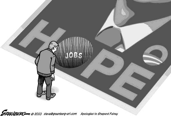 Steve Greenberg - Freelance, Los Angeles - Hope and jobs bw - English - Obama,hope,poster,jobs,jobless,unemployment,employment,unemployed