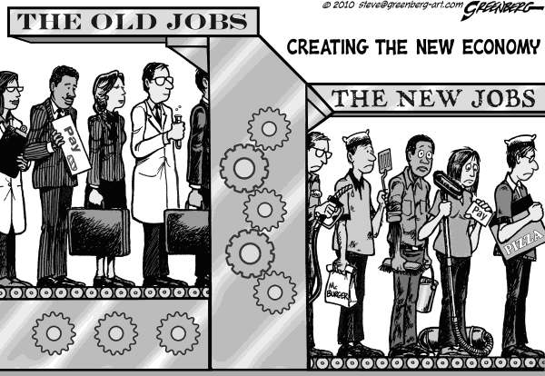 Steve Greenberg - Freelance, Los Angeles - Job machine bw - English - jobs,employment,wages,salary,salaries,blue-collar,underemployment,unemployment