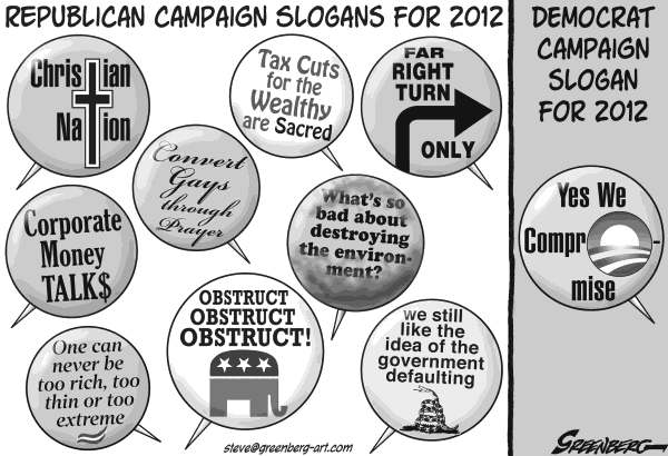Steve Greenberg - VCReporter, Ventura. CA - Campaign buttons 2012 bw - English - Republicans,Democrats,GOP,GOP,2012,campaign,election,Obama,Perry,Bachmann,Romney,Gingrich,Paul,Santorum