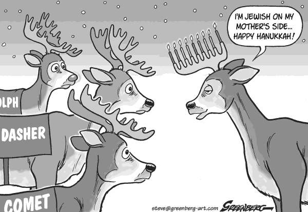 Steve Greenberg - Freelance, Los Angeles - Hanukkah deer bw - English - Hanukkah,Chanukkah,Hanukah,Chanukah,Hannukah,Channukah