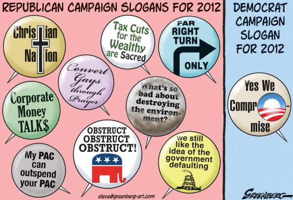 Steve Greenberg - Freelance, Los Angeles - Campaign buttons revised - English - Republicans, Democrats, GOP, 2012, campaign, election, Obama, Perry, Romney, Gingrich, Paul, Santorum
