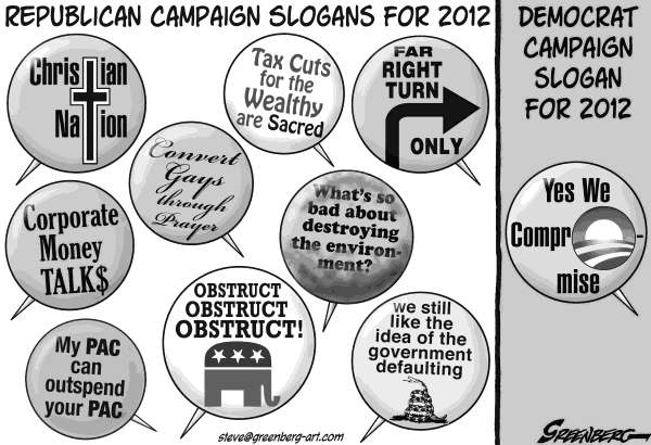 Steve Greenberg - Freelance, Los Angeles - Campaign buttons revised bw - English - Republicans, Democrats, GOP, 2012, campaign, election, Obama, Perry, Romney, Gingrich, Paul, Santorum