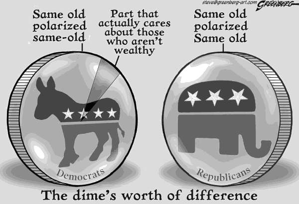 Steve Greenberg - VCReporter, Ventura. CA - Dime's worth bw - English - Democrats,Republicans,wealthy,GOP,GOP,Democrat,Republican,dime,parties,Mitt Romney