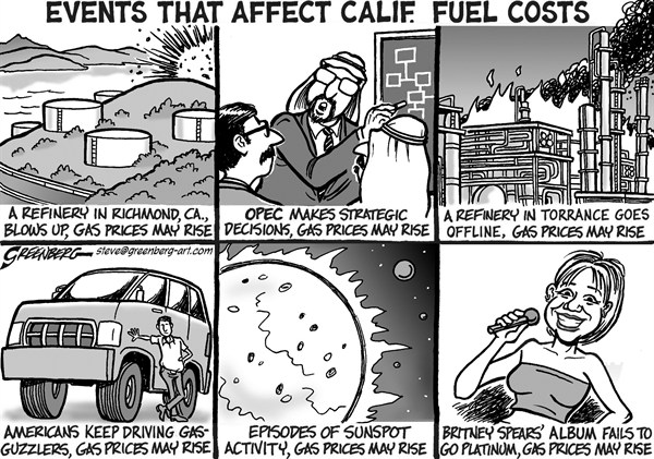 Steve Greenberg - Freelance, Los Angeles - Gas Prices Rise CALIF bw - English - California,gas,gasoline,fuel,prices,pump,refinery,refineries,petroleum,spike