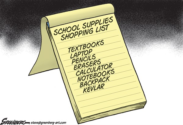 Steve Greenberg - VCReporter, Ventura. CA - School supplies list - English - schools,shootings,violence,guns,bullets,bulletproof vest,firearms