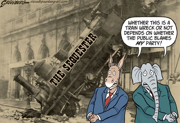 Sequestration Wreck © Steve Greenberg,Freelance, Los Angeles,sequestration,sequester,budget,cuts,,train,wreck