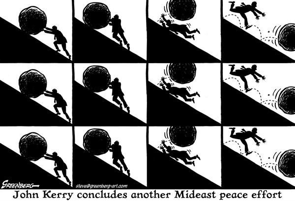 Steve Greenberg - Jewish Journal of Greater Los Angeles - Kerry Mideast quest bw - English - John Kerry,Mideast,peace,negotiations,Israel,Israelis,Palestine,Palestinians,Sisyphus