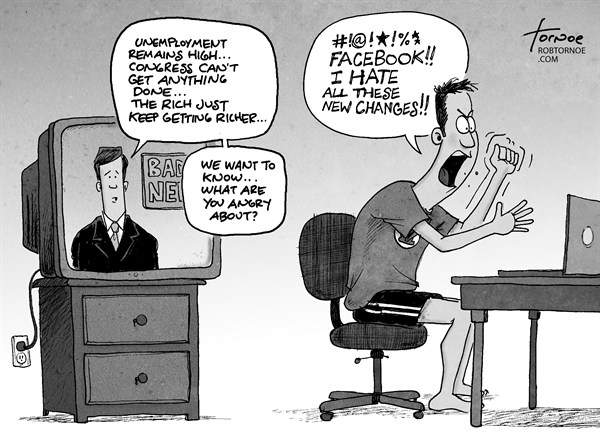 Rob Tornoe - PoliticalCartoons.com - Facebook Changes - English - Facebook, Mark Zuckerberg, internet, computer, news, taxes, rich social media, technology, mac