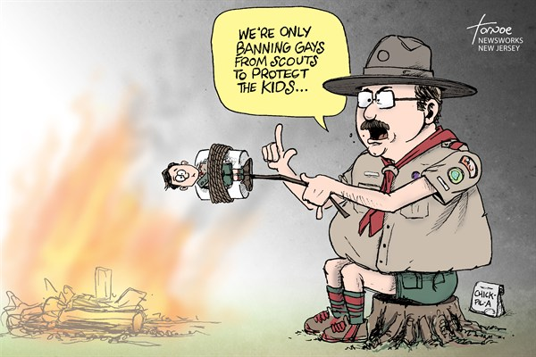 Rob Tornoe - PoliticalCartoons.com - Boy Scouts - English - Boy Scouts, BSA, gay, atheist, straight, scout, fire, chick-fil-a,,