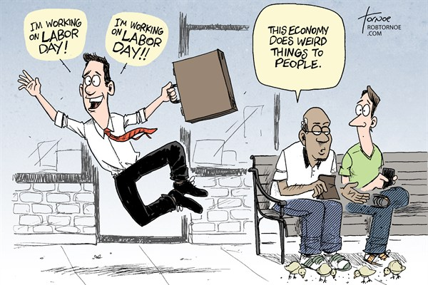 Rob Tornoe - PoliticalCartoons.com - Labor Day - English - Labor Day,job,work,business,unemployment,employment,labor-day-2012