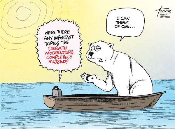 Rob Tornoe - The Press of Atlantic City - The Debates & Climate Change - English - debate,climate change,global warming,polar bear,arctic,melting,ice,warming,,debate-3