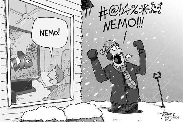 Rob Tornoe - PoliticalCartoons.com - Nemo Snow Storm - English - Nemo, New York City, snow, winter, weather, Boston, Connecticut, storm, blizzard, nor easter, New Jersey, sleet, thunder snow